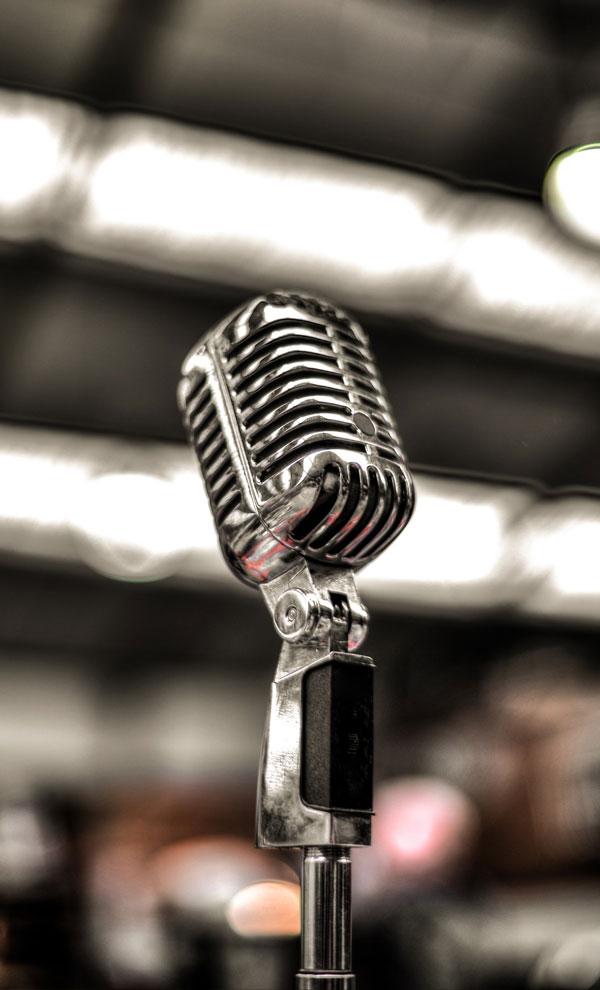 Mikrofonstativ før koncert