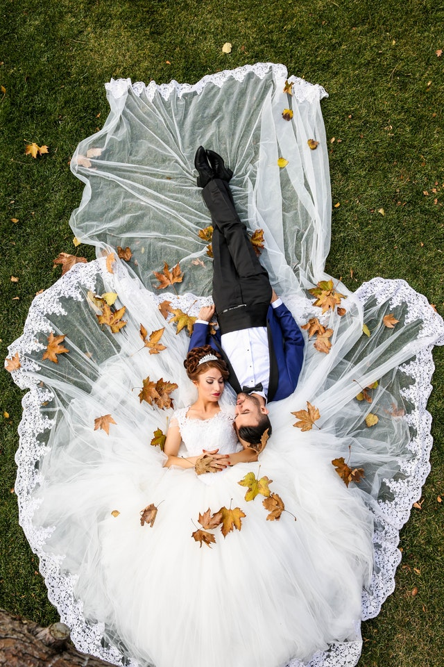Brudepar i græsset
